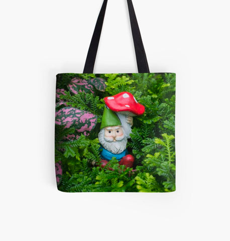 Ready to Ship - 16x16 Garden Gnome Canvas Tote Bag - april bern photography