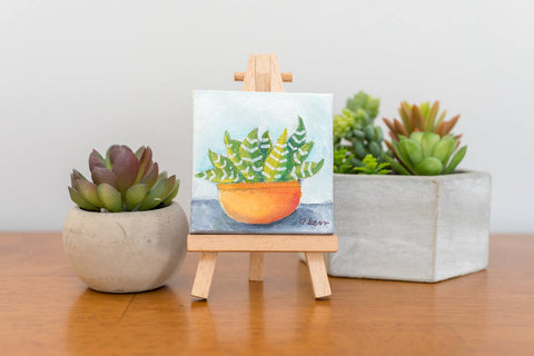 Mini Succulent Zebra Plant Painting - 3x3 Original Oil Painting - april bern photography