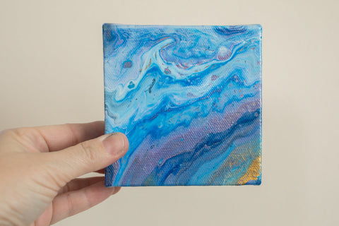 Small Blue and Purple Agate Painting - 4x4 Abstract Art - april bern photography