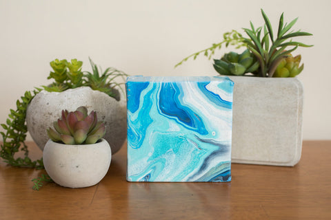 Mini Blue Agate Painting - 4x4 Abstract Art - april bern photography