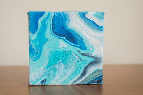 Mini Blue Agate Painting - 4x4 Abstract Art - april bern art & photography