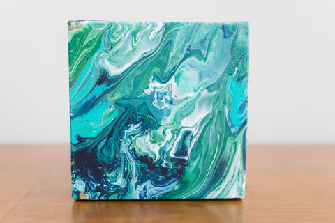 Mini Green Abstract Painting - 4x4 Abstract Art
