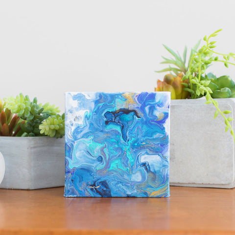 Small Blue Ocean Abstract Painting - 4x4 Abstract Art