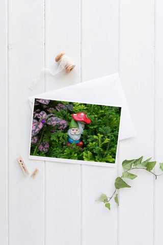 Garden Gnome Blank Greeting Card - april bern photography