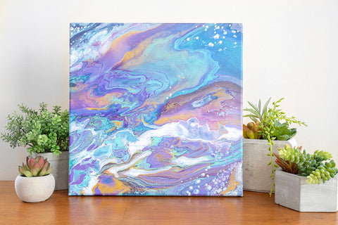 Colorful Galaxy Abstract Art - 12x12 Acrylic Painting - april bern photography