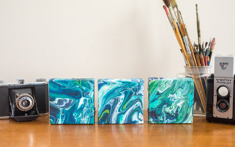 Small Green and Blue Abstract Painting - 4x4 Abstract Art - april bern photography