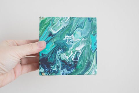 Mini Green Abstract Painting - 4x4 Abstract Art - april bern photography