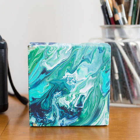 Mini Green Abstract Painting - 4x4 Abstract Art - april bern art & photography