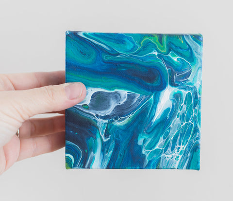 Blue Tide Acrylic Painting - 4x4 Abstract Art - april bern photography