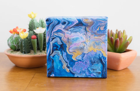 Blue Magic Acrylic Fluid Art Painting - 4x4 Abstract Art - april bern photography