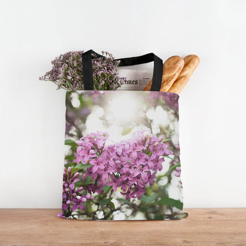Lilac Floral Canvas Tote Bag