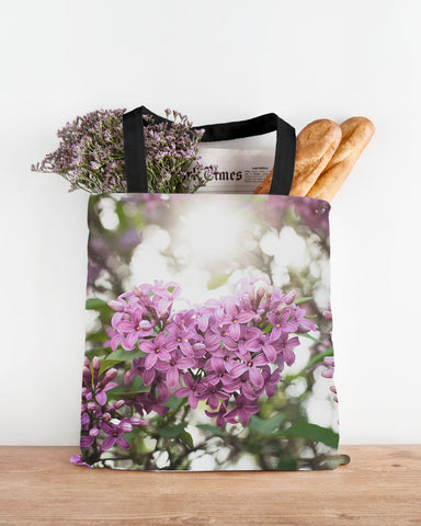 Lilac Floral Canvas Tote Bag - april bern photography