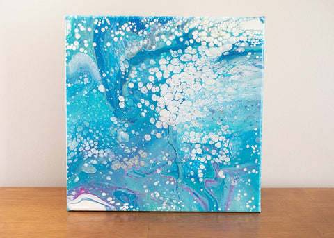 Blue Ocean Abstract Art - 12x12 Acrylic Painting - april bern photography