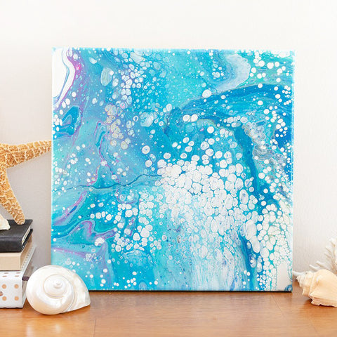 Blue Ocean Abstract Art - 12x12 Acrylic Painting