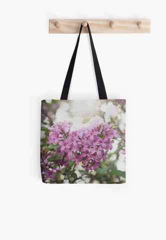 Lilac Floral Canvas Tote Bag - april bern art & photography