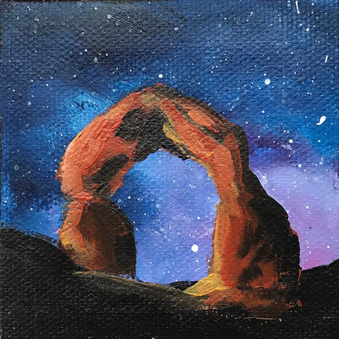 Arches National Park Original Acrylic Painting - 3x3 Tiny Art - april bern photography
