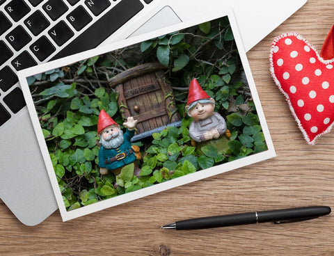 Welcome Gnome - Garden Gnome Blank Greeting Card - april bern photography