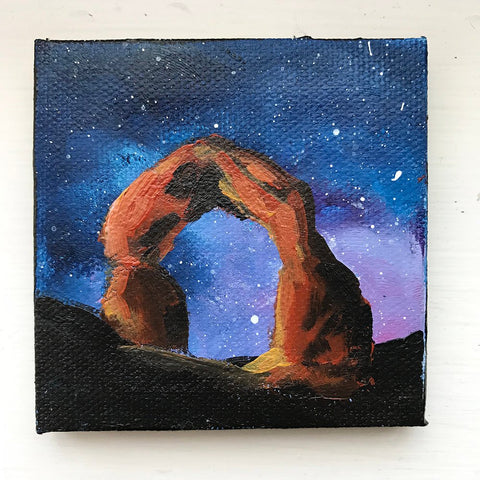 Arches National Park Original Acrylic Painting - 3x3 Tiny Art