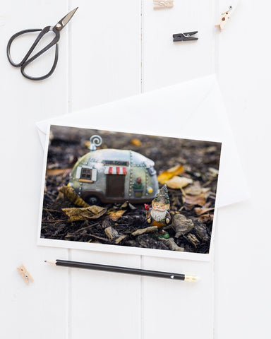 Adventure Gnome - Garden Gnome Blank Greeting Card - april bern photography