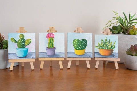 Cute Mini Cactus - 3x3 Original Oil Painting - april bern photography