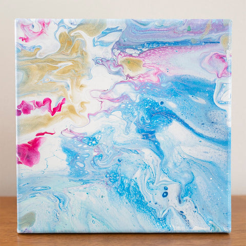 Tropical Waters Abstract Art - 8x8 Acrylic Painting - april bern photography