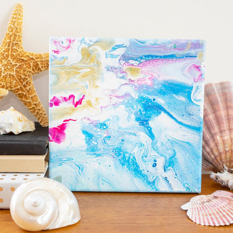 Tropical Waters Abstract Art - 8x8 Acrylic Painting