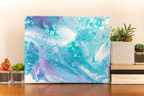 Saltwater Blue Abstract Painting - 11x14 Abstract Art - april bern photography