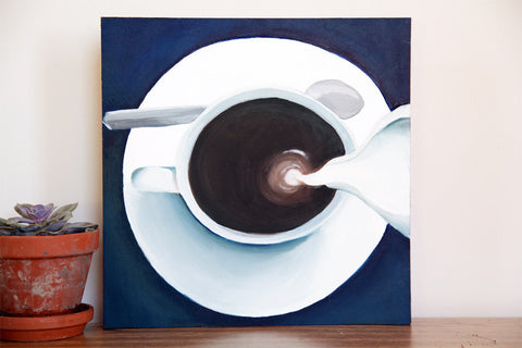 "Coffee & Cream Original Oil Painting 12""x12"" - april bern photography"