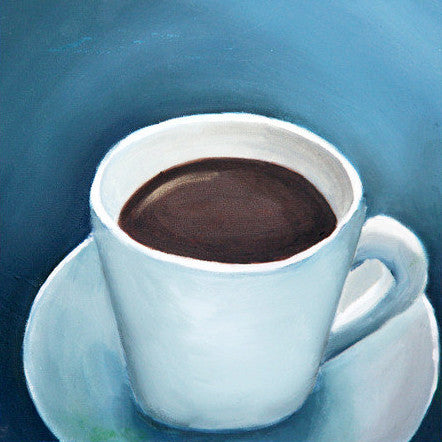 "First Cup - Original Coffee Cup Oil Painting 8""x8"""