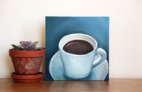 "First Cup - Original Coffee Cup Oil Painting 8""x8"" - april bern photography"