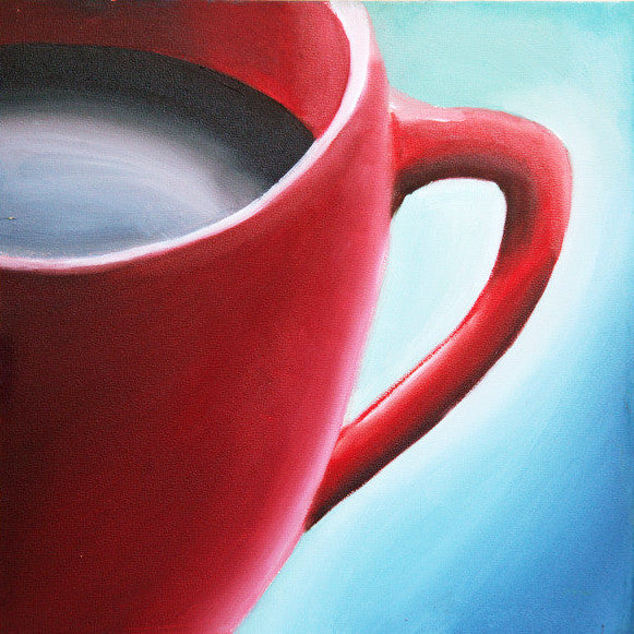 "Red Cup Coffee Cup - Original Coffee Cup Oil Painting 8""x8"" - april bern photography"