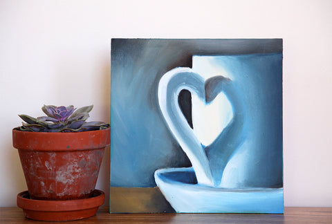 First Love Original Coffee Cup Oil Painting