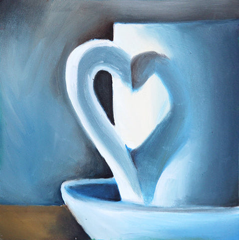 "First Love - Original Coffee Cup Oil Painting 8""x8"""