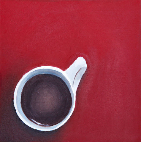 "Hot Coffee - Original Coffee Cup Oil Painting 8""x8"" - april bern art & photography"