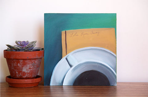 "Let's Run Away - Original Coffee Cup Oil Painting 8""x8"" - april bern photography"