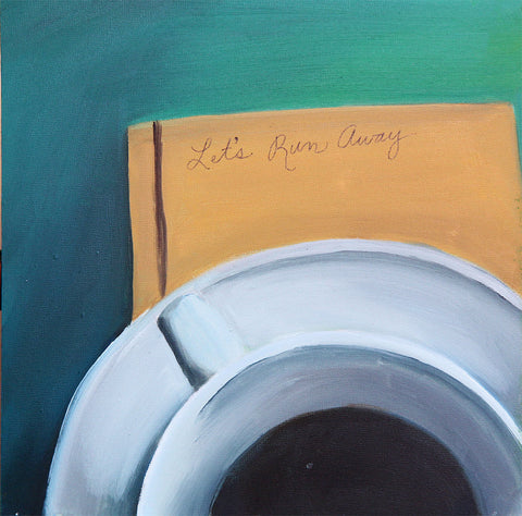 "Let's Run Away - Original Coffee Cup Oil Painting 8""x8"""