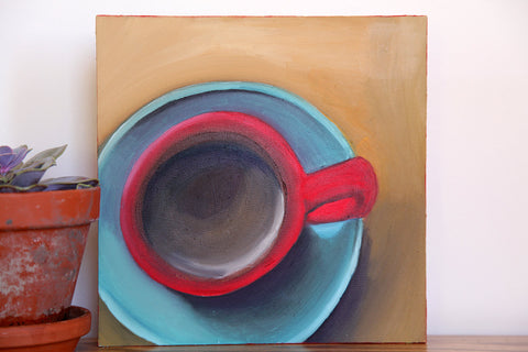 "Good Morning - Original Coffee Cup Oil Painting 8""x8"" - april bern photography"