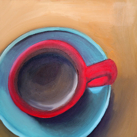 "Good Morning - Original Coffee Cup Oil Painting 8""x8"""