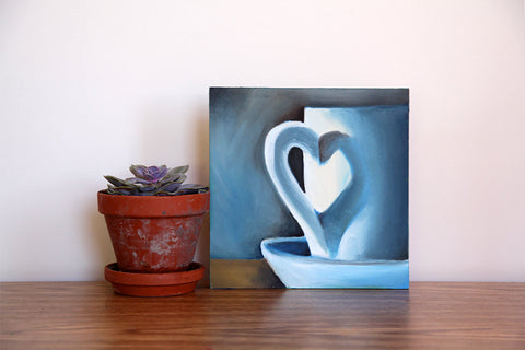 "First Love - Original Coffee Cup Oil Painting 8""x8"" - april bern photography"