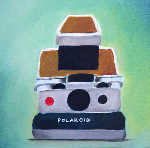 Vintage Polaroid SX70 Camera Original Oil Painting 8x8 - april bern photography