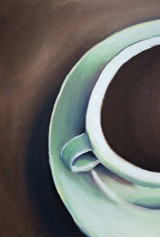 "Teal Coffee Cup Original Coffee Cup Oil Painting 11""x14"" - april bern photography"