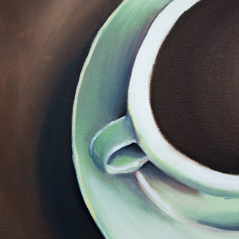 "Teal Coffee Cup Original Coffee Cup Oil Painting 11""x14"""