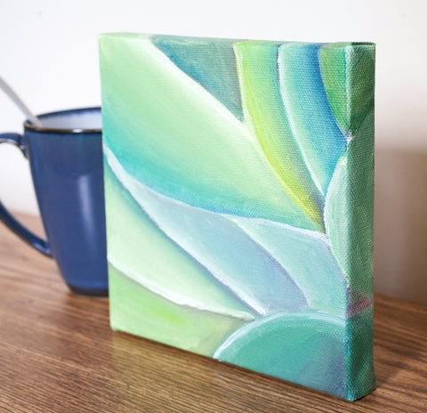 Abstract Leaves 02 Original Oil Painting 5x5