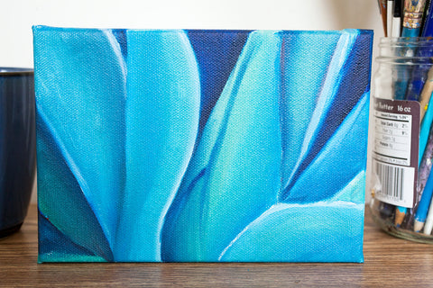 Blue Agave Original Oil Painting 5x7 - april bern photography