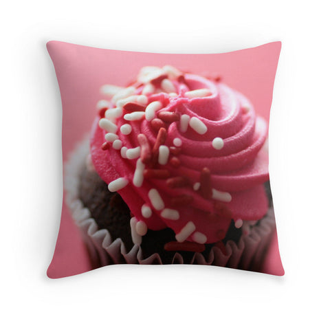 Pink Cupcake Decorative Throw Pillow - april bern photography