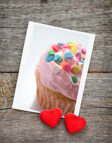 Pink Cupcake Photo Notecard, Blank Birthday Card - april bern photography