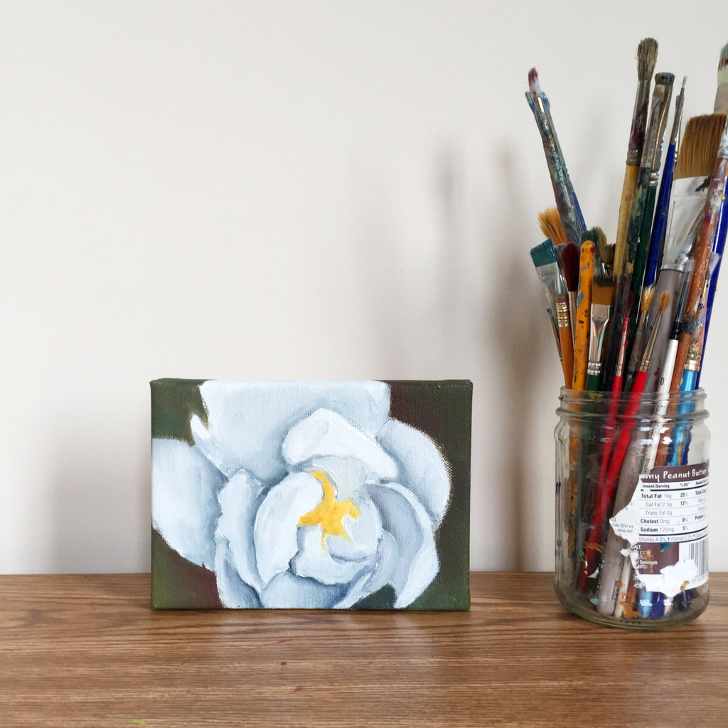White Peony Original Oil Painting 5x7 - april bern photography