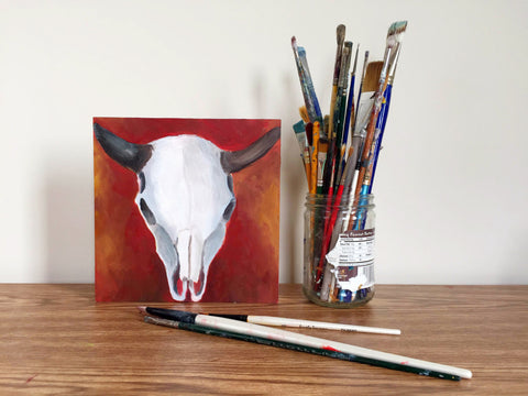 "Southwestern Beauty Cow Skull Original Oil Painting 8""x8"" - april bern photography"