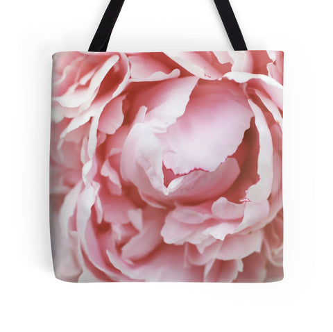 Ready to Ship - 16x16 Pink Peony Photo Canvas Tote Bag - april bern photography