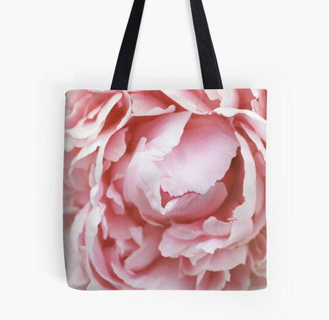 Ready to Ship - 16x16 Pink Peony Photo Canvas Tote Bag